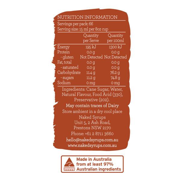 Naked Syrups Caramel Syrup Label
