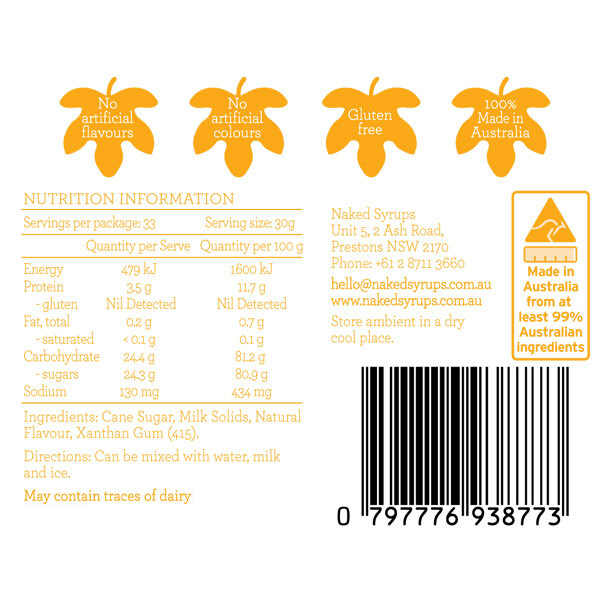 Naked Syrups Frappe Base Label