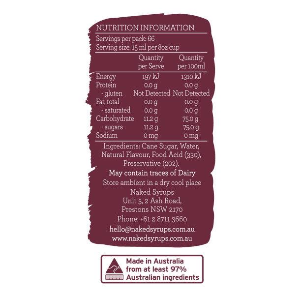 Naked Syrups Hazelnut Syrup Label
