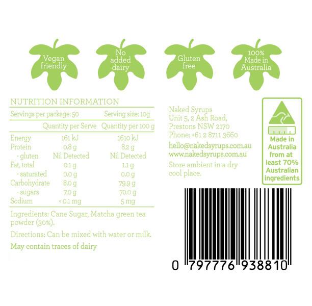 Naked Syrups Matcha Powder Label