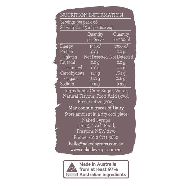 Naked Syrups Vanilla Syrup Label
