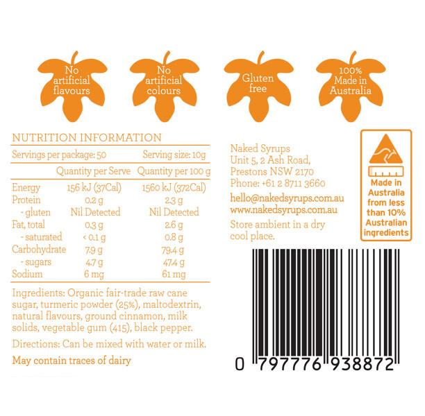 Naked Syrups Turmeric Latte Powder Label