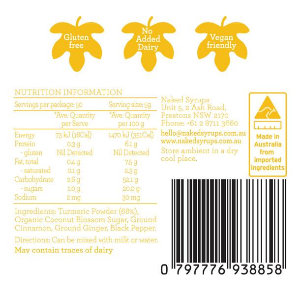 Naked Syrups Turmeric Powder Label